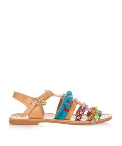 ELINA LINARDAKI | Maude Embellished Leather Flat Sandals