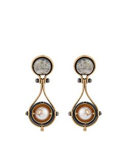 ELIE TOP | Diamond Pearl Silver Pluton Earrings