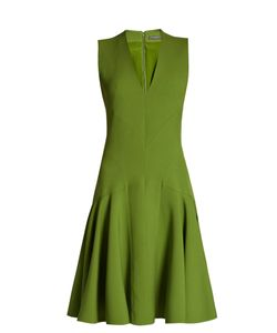 Alexander McQueen | V-Neck Wool-Blend Sleeveless Dress