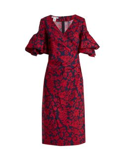 Oscar de la Renta | Decorative Print Cotton-Blend Poplin Dress