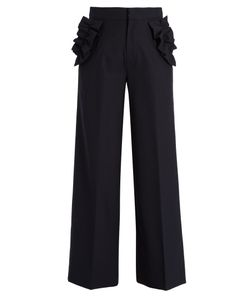 Muveil | Ruffle-Trimmed High-Rise Trousers
