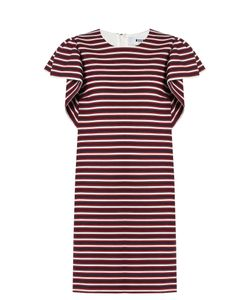 MSGM | Round-Neck Striped-Panel Cotton-Blend Dress