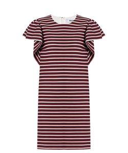 MSGM | Round-Neck Striped-Panel Cotton-Blend Dress