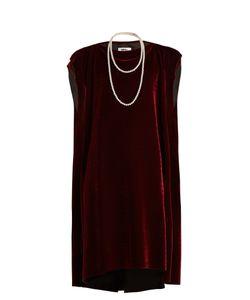 MM6 by Maison Margiela | Faux Pearl-Embellished Tie-Waist Velvet Dress