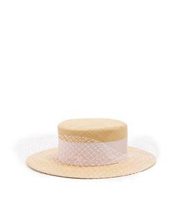 FEDERICA MORETTI | Veil-Embellished Panama Straw Hat