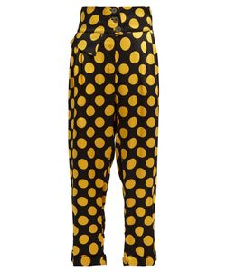 Duro Olowu | Large Polka-Dot Print Silk-Satin Cropped Trousers