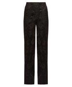 Etro | Palazzo Poppy-Jacquard Wide-Leg Silk Trousers
