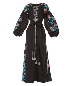 Vita Kin | Marigold-Embroidered Linen Maxi Dress