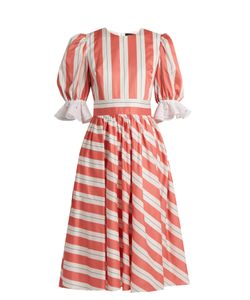 ANNA OCTOBER | Puff-Sleeve Striped Cotton Dress
