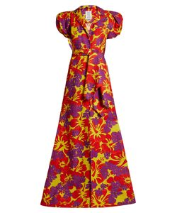 Rosie Assoulin   Tropical-Print Puff-Sleeved Faille Gown