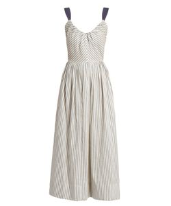 Luisa Beccaria | Striped Linen-Blend Midi Dress