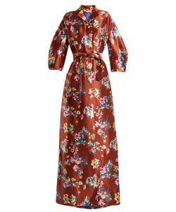 Delpozo | Notch-Lapel Print Silk Gown