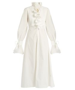 By. Bonnie Young | Ruffled-Neck Cotton Dress