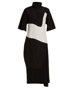 Acne   Dilona High-Neck Contrast-Panel Dress