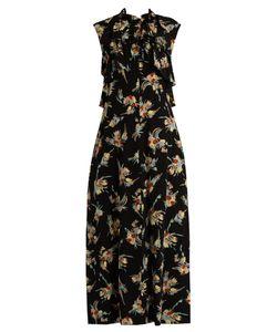 Marni | Rustle-Print Ruffle-Trimmed Silk Dress
