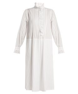Sonia Rykiel | Striped Cotton-Voile High-Neck Dress