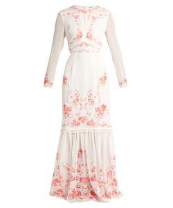 VILSHENKO | Rose-Print Silk-Georgette Dress