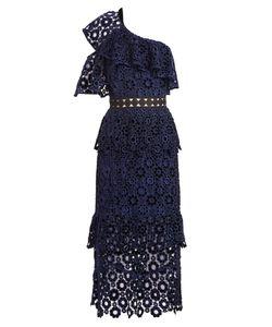 Self-Portrait | One-Shoulder Tiered Lace Midi Dress