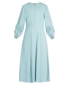 Tibi | Marta Ruched-Sleeve Linen-Blend Dress