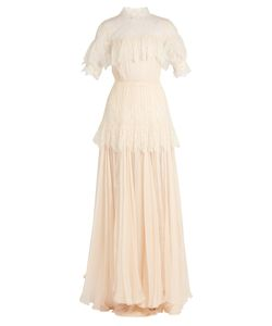 Maria Lucia Hohan | Dani Lace-Panelled Silk-Mousseline Gown
