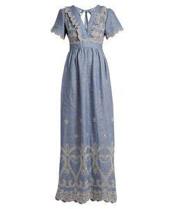 Luisa Beccaria | V-Neck Broderie-Anglaise Linen-Blend Dress