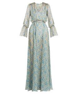 Luisa Beccaria | -Print V-Neck Silk-Chiffon Gown