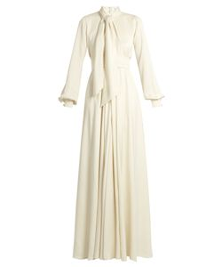 Lanvin | Tie-Neck Balloon-Sleeve Cady Gown