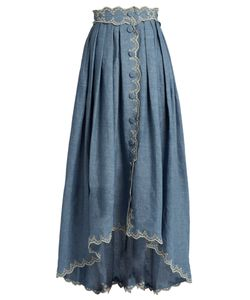 Luisa Beccaria | Broderie-Anglaise Linen-Blend Skirt