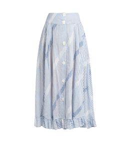 Thierry Colson | Romane Stripe-Print Cotton-Voile Skirt