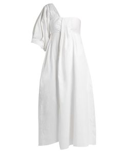 Teija | One-Shoulder Pleated Cotton-Poplin Midi Dress