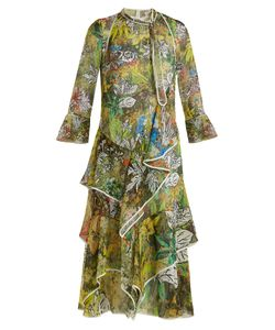 Peter Pilotto | -Print Ruffled Silk-Georgette Midi Dress
