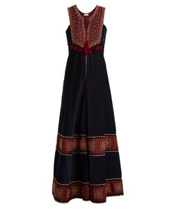 TALITHA | Embroidered Contrast-Panel Corduroy Dress