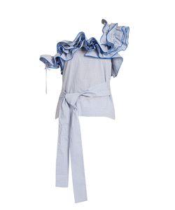 Rosie Assoulin   Iris One-Shoulder Ruffle Cotton Top