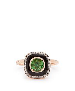 SELIM MOUZANNAR   Diamond Tsavorite Enamel Mina Ring