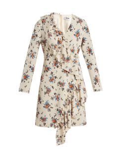 MSGM   Asymmetric-Ruffle Print Crepe Dress