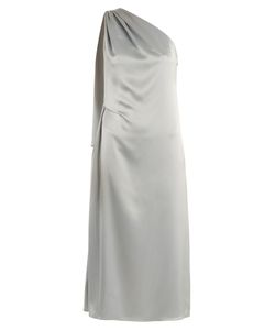 OSMAN | Mariam One-Shoulder Draped Satin Dress