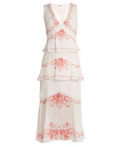 VILSHENKO | Greta Print Tiered Silk Midi Dress