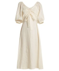 Zimmermann | Painted Heart V-Neck Gathered Linen Midi Dress