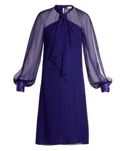 Lanvin | Halterneck Balloon-Sleeved Voile Dress