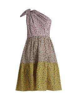 ANNA OCTOBER | Contrast-Print One-Shoulder Cotton Dress