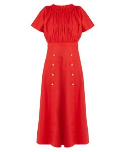 Saloni | Dakota Off-The-Shoulder Stretch-Cotton Midi Dress