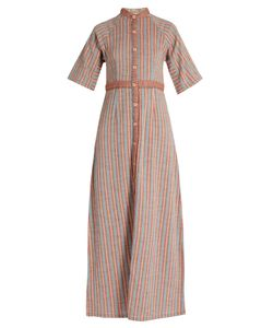 ACE & JIG | Ballad Stand-Collar Striped-Cotton Dress