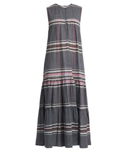 A PIECE APART | Fuentes Tiers Checked Cotton Maxi Dress
