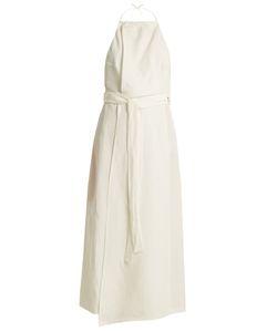 RAEY   Split-Skirt Linen Halterneck Dress