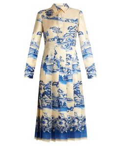 Gucci | Porcelain Garden-Print Silk Midi Dress