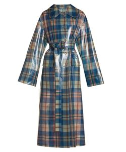 Burberry | Spread-Collar Tartan Frosted Coat