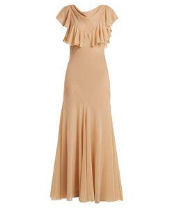 Maison Margiela | Ruffled-Sleeve Bias-Cut Layered Chiffon Dress