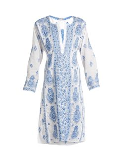 Juliet Dunn | Paisley-Embroidered Cotton-Voile Kaftan