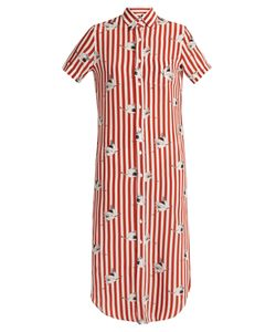 Stella Jean | Spassosa Bird-Print Striped Silk Dress