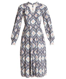 Emilia Wickstead | Sidney Tapestry-Print Pleated Crepe Midi Dress